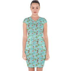 Light Teal Heart Cherries Capsleeve Drawstring Dress