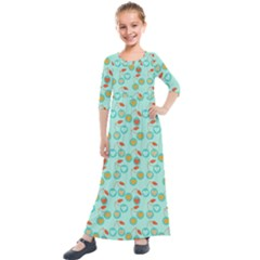 Light Teal Heart Cherries Kids  Quarter Sleeve Maxi Dress by snowwhitegirl