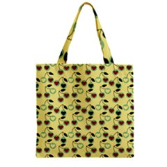 Yellow Heart Cherries Zipper Grocery Tote Bag by snowwhitegirl