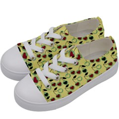 Yellow Heart Cherries Kids  Low Top Canvas Sneakers by snowwhitegirl