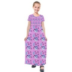 Punk Baby Pink Kids  Short Sleeve Maxi Dress by snowwhitegirl