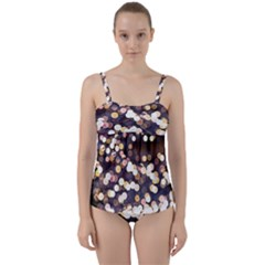 Bright Light Pattern Twist Front Tankini Set by FunnyCow