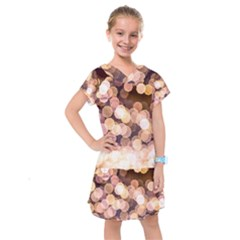 Warm Color Brown Light Pattern Kids  Drop Waist Dress by FunnyCow