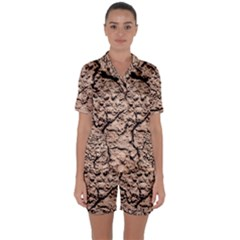 Earth  Light Brown Wet Soil Satin Short Sleeve Pyjamas Set by FunnyCow