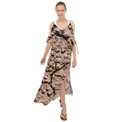 Earth  Light Brown Wet Soil Maxi Chiffon Cover Up Dress