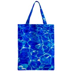Blue Clear Water Texture Zipper Classic Tote Bag by FunnyCow