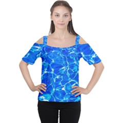 Blue Clear Water Texture Cutout Shoulder Tee by FunnyCow