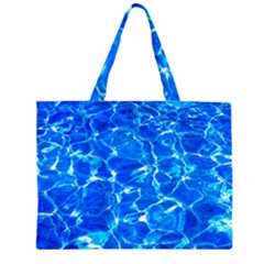 Blue Clear Water Texture Zipper Large Tote Bag by FunnyCow