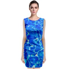 Blue Clear Water Texture Sleeveless Velvet Midi Dress by FunnyCow