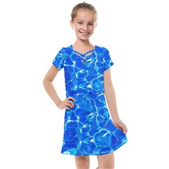 Blue Clear Water Texture Kids  Cross Web Dress by FunnyCow