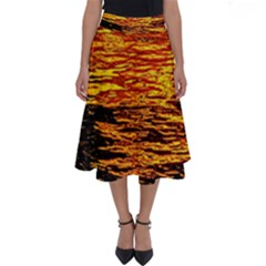Liquid Gold Perfect Length Midi Skirt by FunnyCow