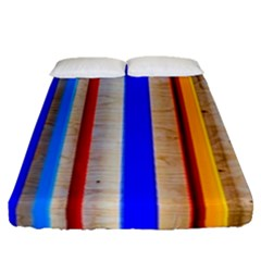 Colorful Wood And Metal Pattern Fitted Sheet (queen Size) by FunnyCow