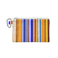 Colorful Wood And Metal Pattern Canvas Cosmetic Bag (small) by FunnyCow