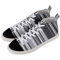 Shades Of Grey Wood And Metal Men s Mid Top Canvas Sneakers by FunnyCow
