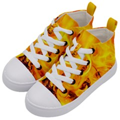 Fire And Flames Kid s Mid Top Canvas Sneakers by FunnyCow