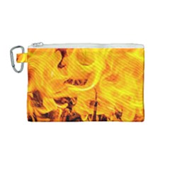 Fire And Flames Canvas Cosmetic Bag (medium) by FunnyCow
