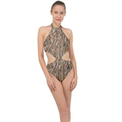Dry Hay Texture Halter Side Cut Swimsuit