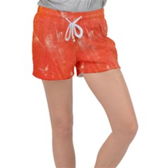 Grunge Red Tarpaulin Texture Women s Velour Lounge Shorts