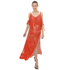 Grunge Red Tarpaulin Texture Maxi Chiffon Cover Up Dress