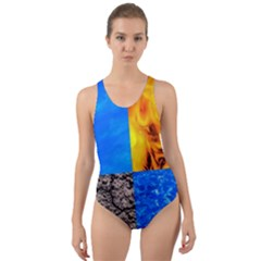 The Fifth Inside Funny Pattern Cut Out Back One Piece Swimsuit