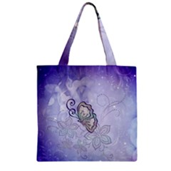 Wonderful Butterlies With Flowers Zipper Grocery Tote Bag by FantasyWorld7