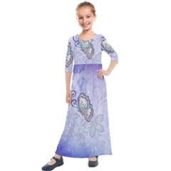 Wonderful Butterlies With Flowers Kids  Quarter Sleeve Maxi Dress by FantasyWorld7
