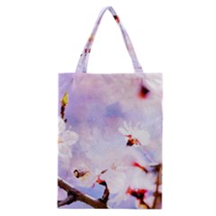 Pink Sakura Purple Background Classic Tote Bag by FunnyCow