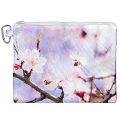Pink Sakura Purple Background Canvas Cosmetic Bag (xxl) by FunnyCow
