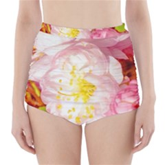 Pink Flowering Almond Flowers High Waisted Bikini Bottoms by FunnyCow