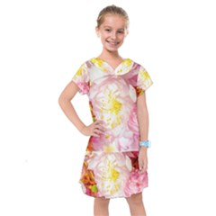 Pink Flowering Almond Flowers Kids  Drop Waist Dress by FunnyCow