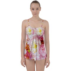 Pink Flowering Almond Flowers Babydoll Tankini Set by FunnyCow