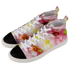 Pink Flowering Almond Flowers Men s Mid Top Canvas Sneakers by FunnyCow
