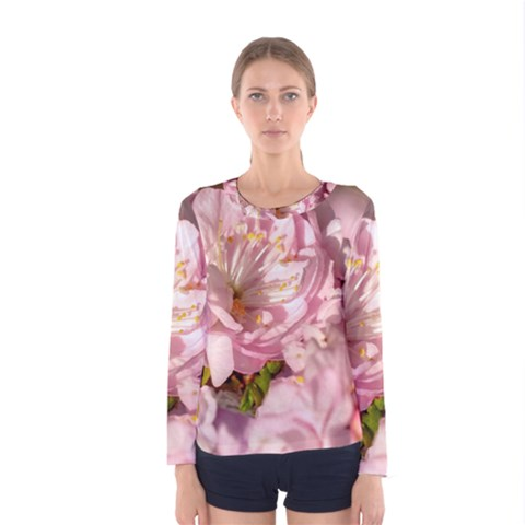 Beautiful Flowering Almond Women s Long Sleeve Tee by FunnyCow
