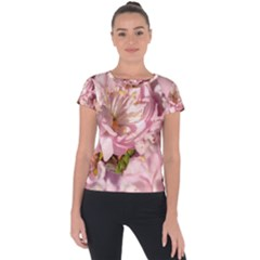 Beautiful Flowering Almond Short Sleeve Sports Top  by FunnyCow