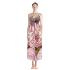 Beautiful Flowering Almond Button Up Chiffon Maxi Dress by FunnyCow