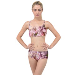 Beautiful Flowering Almond Layered Top Bikini Set by FunnyCow