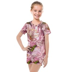 Beautiful Flowering Almond Kids  Mesh Tee And Shorts Set