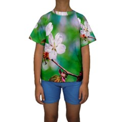 Sakura Flowers On Green Kids  Short Sleeve Swimwear by FunnyCow