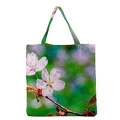 Sakura Flowers On Green Grocery Tote Bag by FunnyCow