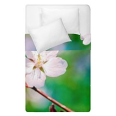 Sakura Flowers On Green Duvet Cover Double Side (single Size) by FunnyCow