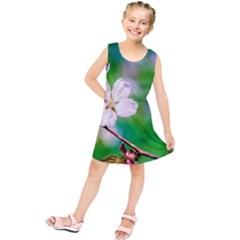 Sakura Flowers On Green Kids  Tunic Dress by FunnyCow