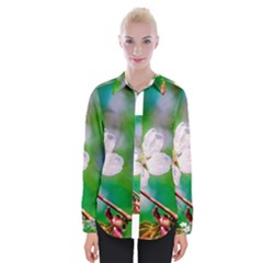 Sakura Flowers On Green Womens Long Sleeve Shirt