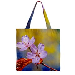 Sakura Flowers On Yellow Grocery Tote Bag by FunnyCow