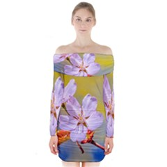 Sakura Flowers On Yellow Long Sleeve Off Shoulder Dress by FunnyCow