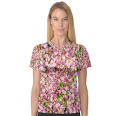 Almond Tree In Bloom V Neck Sport Mesh Tee by FunnyCow