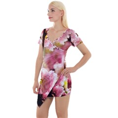 Blooming Almond At Sunset Short Sleeve Asymmetric Mini Dress by FunnyCow
