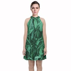 Green Camo Print Velvet Halter Neckline Dress  by DesignsbyDana