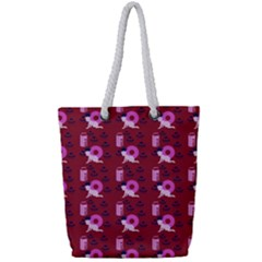 Punk Baby Red Full Print Rope Handle Tote (small)