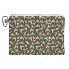 Brown With Blue Hats Canvas Cosmetic Bag (xl) by snowwhitegirl