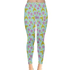 Blue Star Yellow Hats Inside Out Leggings